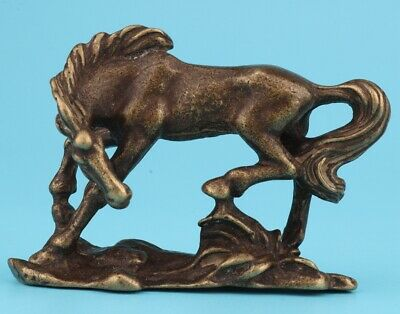 Unique China Bronze Animal Horse Solid Mascot Collection Gift Old