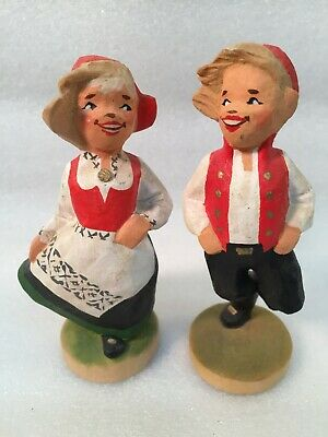 Vintage HENNING Pair of Hand Carved Wooden Boy & Girl Dancing NORWAY
