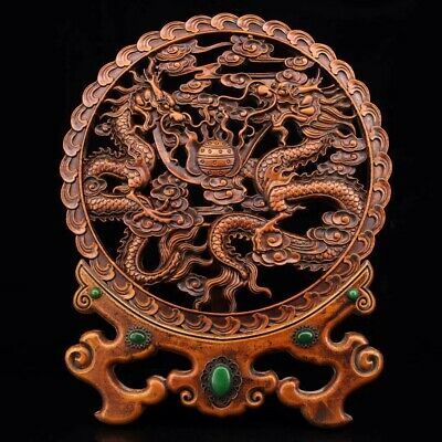 Chinese Old boxwood hand carved double dragon Mosaic jade screen Home Decoration