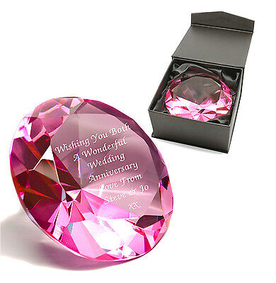 Personalised Pink Crystal Glass Diamond Paperweight, Engraved Wedding Gift