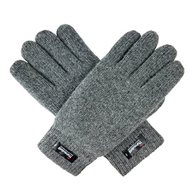 Mens Pure Wool Knitted Gloves Thinsulate Lining and Elastic Rib Cuff S/M Grey