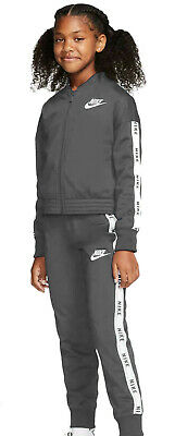Nike Girl Freizeit-Sport-Trainingsanzug G Track Suit Jersey Gray White