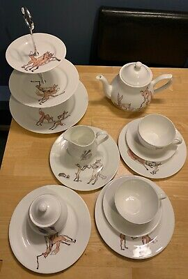 Mellor Ware Lianne Mellor Woodland Animals Complete Afternoon Tea Set English