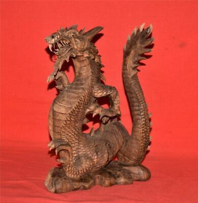 """Vintage Hand Carved Wooden Wood Winged Dragon Figure Statue 12"""""""