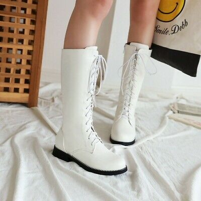 Women Girls Flat Heels Lace Up Knee High Combat Boots Casual Side Zip Shoes Size