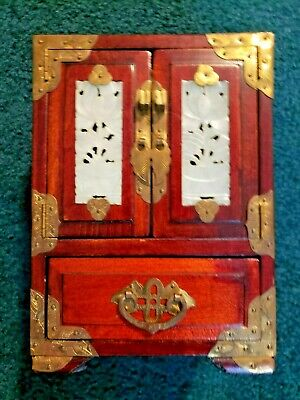 Vintage Chinese Wood Jewelry Box with Jade & Brass Accents FREE SHIPPING