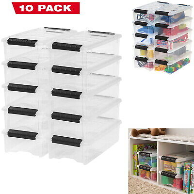 Plastic Storage Tote Container Clear Stackable Pull Box 10 Pack Set With Lid Bin