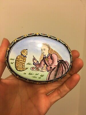 Vintage Chinese Export Bronze & Enamel Box - Hand Painted