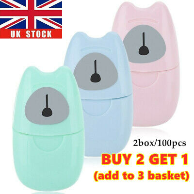 100pcs Portable Disposable Hand Washing Scented Slice Sheets Mini Soap Paper UK