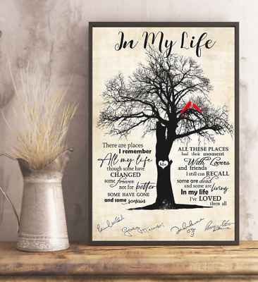 The Beatles Band In My Life Song Lyrics Signature Poster No Frame