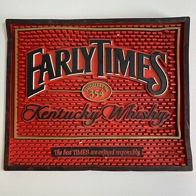 """Early Times Kentucky Whiskey Red Black Rubber Bar Mat Advertising 9.5"""" x 11.5"""""""