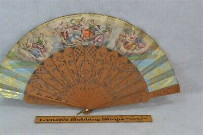 antique hand fan Victorian hand painted renaissance carved wood rib 1800 19thc