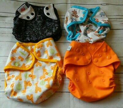 4 Cloth Diaper Covers Capri, Flip, Rumparooz, Diaper Junction, Snaps One Size