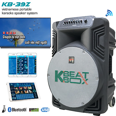 Kb-39Z Kbeat Box Powered Karaoke System Speaker With 2 Wireless Mics - 100Watts