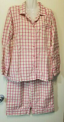 Lilly Pulitzer Pajama Pink & Green plaid Cotton Top & Bottom  MEDIUM Women LOOK