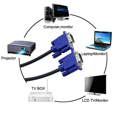 Male to Male VGA Extension Cable Cord for PC Computer Monitor Projector