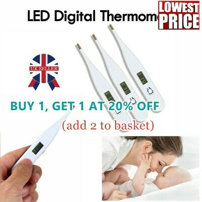 LCD Digital Audible Thermometer Fever Measuring Adults Kids Oral Underarm Home