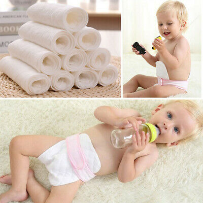 5/10pcs Reusable Cloth Diapers Cotton Baby Newborn Insert Nappy Liners Washable