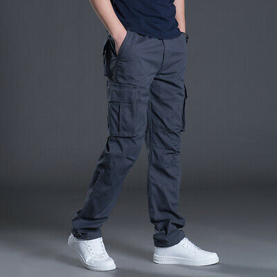 Mens Elasticated Cargo Combat lightweight Cotton Work Trousers Bottoms Pants New