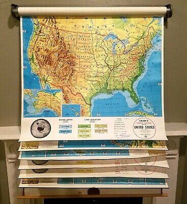 Vintage Cram's 7 Layer Physical Politcal Schoolhouse Pull Down Continents Maps