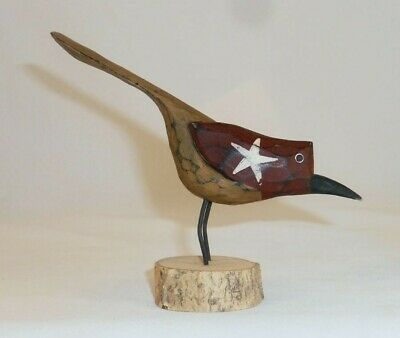 Carved & Painted Wood PA Dutch Folk Art Maroon & Yellow Bird Standing Signed Kp