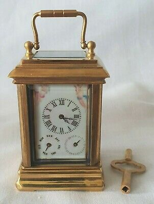 Miniature Carriage Clock Calendar Day Date Porcelain Enamel 10cm High