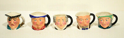 5 Vintage Snel Ware Mini Toby Jugs: A Lincoln, Henry VIII, Q. Elizabeth + more