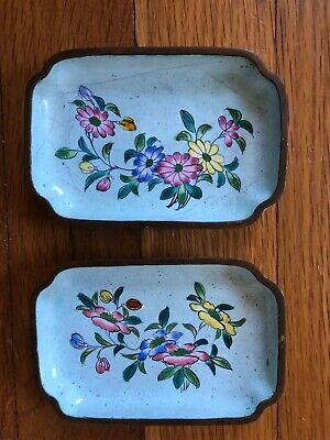 Antique Late 19th Early 20th c. painted Enamel  Metal trays w/ Flowers
