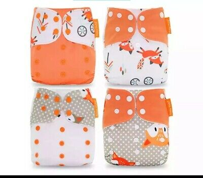 Happy Flute Cloth Diaper 4 Pieces Fox Print NWT