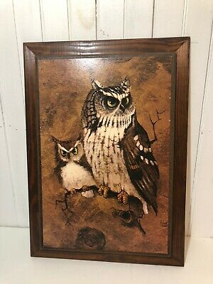 """Vintage Mid Century OWL Print Wall Picture brown 1970s 21""""x16"""" Framed Signed"""