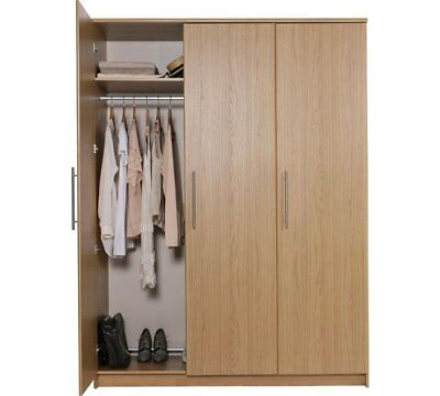 Normandy Tall Large Oak 3 door wardrobe with Storage Shelves