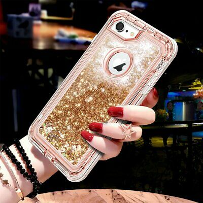 Liquid Glitter Bling Heavy Duty Defender Case For iPhone XS Max XR X 7 8 Plus 6S