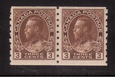 """Canada 1918 Mint Nh Pair #129, King George V """"Admiral"""" Coil Issue !!"""