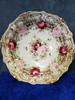 9 Inch Vintage Hand Painted Bowl Nippon?  Very beautiful Rose's and Gold Guild