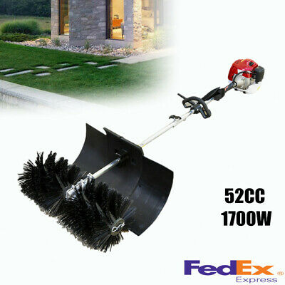 Gas Power Handheld Sweeper Broom For Cleaning Turf Lawns Driveways 52Cc 2Stroke