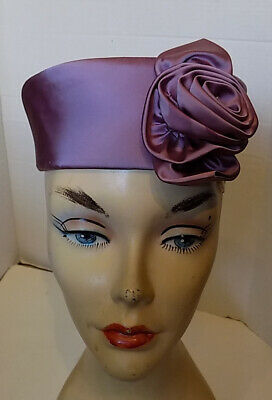 Vintage 60s Orchid Satin Pillbox Hat with Satin Rose