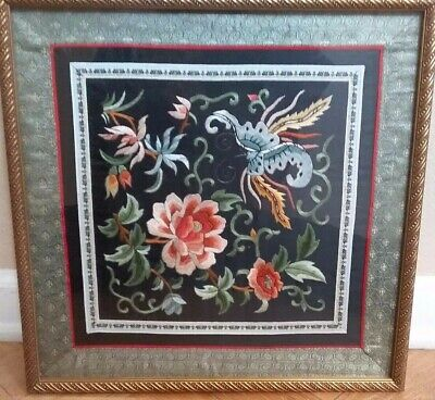 Chinese Black Silk Embroidery Embroidered Panel Nicely Framed