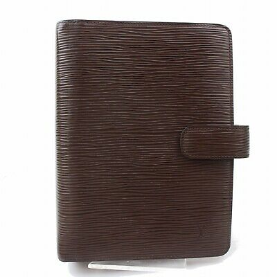 Authentic Louis Vuitton Diary Cover Agenda MM Brown Epi 380432