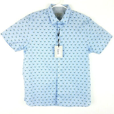 Ted Baker London Mens 5 Short Sleeve Button Up Shirt Flamingos Light Blue