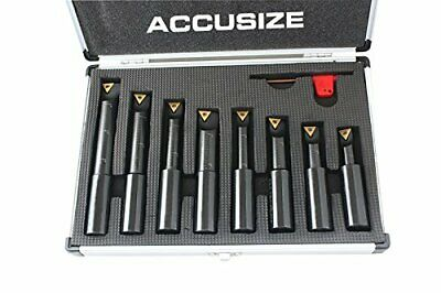 Accusize Industrial Tools 8 Pc 3/4'' Round Shank Indexable Boring Bar Set 3/4""
