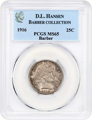 1916 Barber 25c PCGS MS65 ex: D.L. Hansen - Pretty and Original Gem