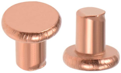 "sourcing map 100 Pcs 1/8"" x 5/32"" Flat Head Copper Solid Rivets Fasteners"
