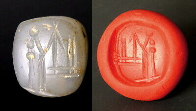 Neo-Babylonian Pyramid Chalcedony Stamp Seal Engraved With God Nabu (N104)