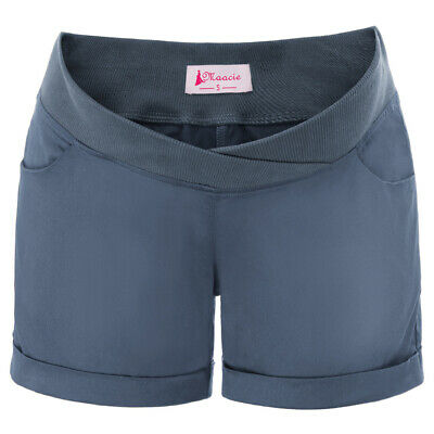 Summer Maternity Shorts Low-Rise For Pregnant Women Pockets Pants Ladies