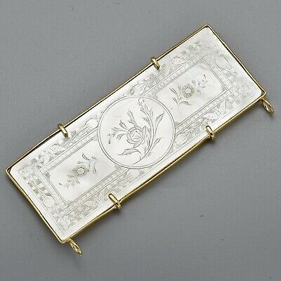 Antique 14K Gold Mother of Pearl Chinese Gambling Counter Token Pendant 7.4Grams
