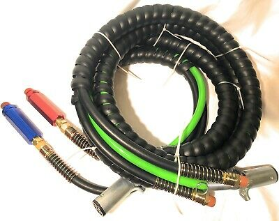 3 In 1 Wrap Set 7 Way Tractor Trailer Abs Electric Cord Cable & Air Lines 15'