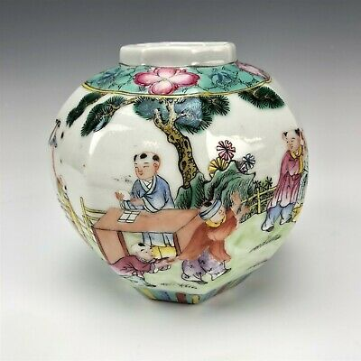 VTG Chinese Export Porcelain Famille Rose Children Playing Octagonal Vase NR BGS