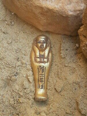 Rare Antique Ancient Egyptian Ushabti Servant minions Water Gold1830-1740BC