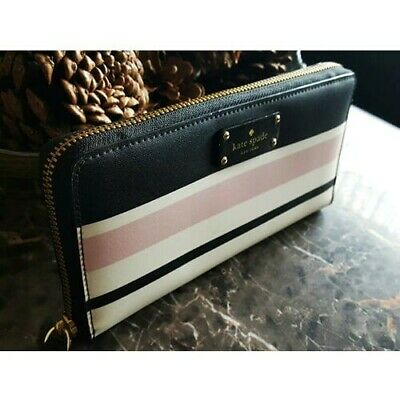 Kate Spade New York Striped Leather Clutch Wallet Neda Black/White/Light Pink