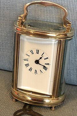 Nice Old c1920 Miniature Oval French Carriage Clock Original Lever Escapement